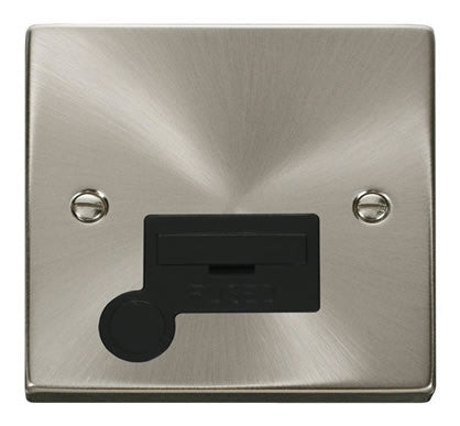 Satin Chrome 13A Fused Connection Unit With Flex - Black Trim