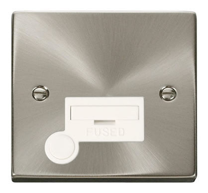 Satin Chrome 13A Fused Connection Unit With Flex - White Trim