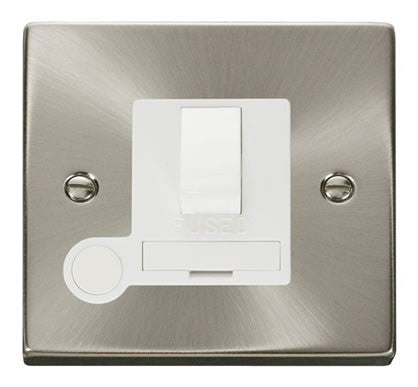 Satin Chrome 13A Fused Connection Unit Switched With Flex - White Trim