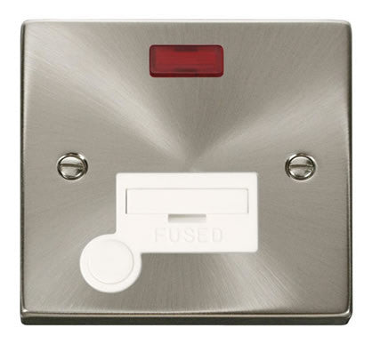 Satin Chrome 13A Fused Connection Unit With Neon With Flex - White Trim