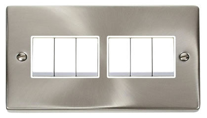 Satin Chrome 10A 6 Gang 2 Way Light Switch - White Trim