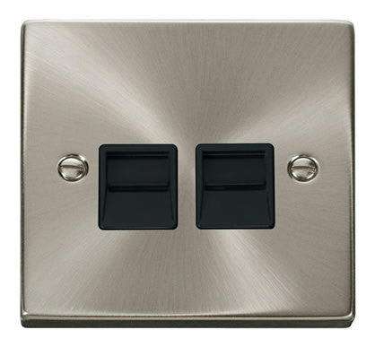 Satin Chrome Master Telephone Twin Socket - Black Trim