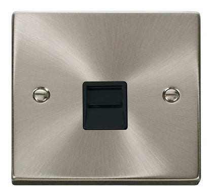 Satin Chrome Secondary Telephone Single Socket - Black Trim