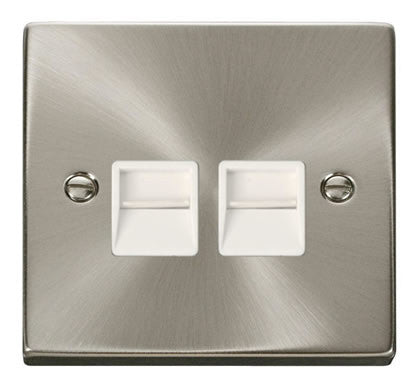 Satin Chrome Secondary Telephone Twin Socket - White Trim
