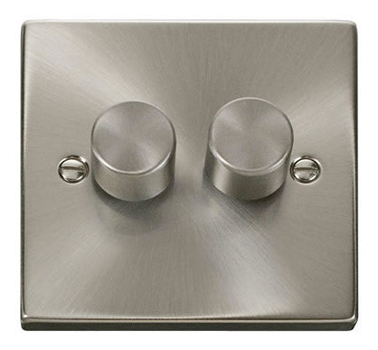 Satin Chrome 2 Gang 2 Way 400w Dimmer Light Switch