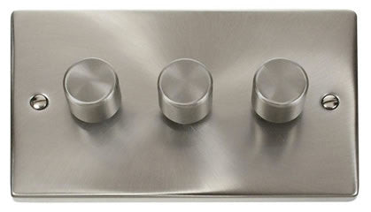 Satin Chrome 3 Gang 2 Way 400w Dimmer Light Switch