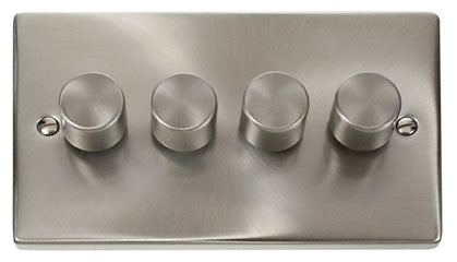 Satin Chrome 4 Gang 2 Way 400w Dimmer Light Switch
