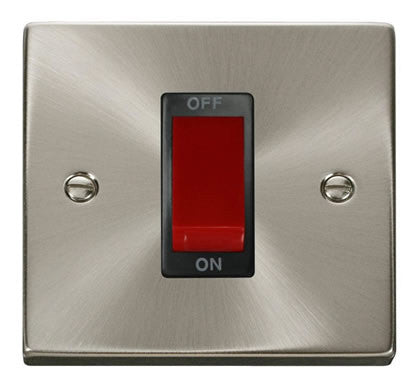 Satin Chrome 1 Gang Size 45A Switch - Black Trim