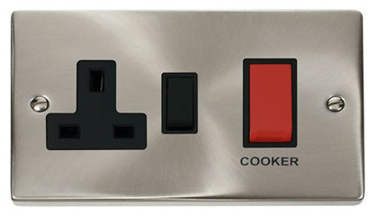 Satin Chrome Cooker Control 45A With 13A Switched Plug Socket - Black Trim