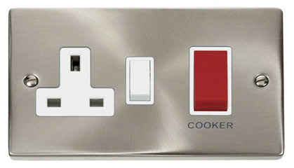 Satin Chrome Cooker Control 45A With 13A Switched Plug Socket - White Trim