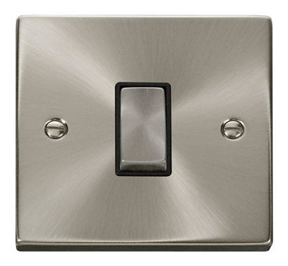 Satin Chrome 10A 1 Gang 2 Way Ingot Light Switch - Black Trim