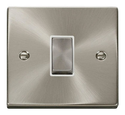 Satin Chrome 10A 1 Gang 2 Way Ingot Light Switch - White Trim