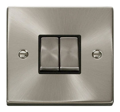 Satin Chrome 10A 2 Gang 2 Way Ingot Light Switch - Black Trim