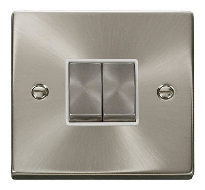 Satin Chrome 10A 2 Gang 2 Way Ingot Light Switch - White Trim