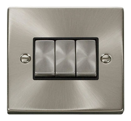 Satin Chrome 10A 3 Gang 2 Way Ingot Light Switch - Black Trim