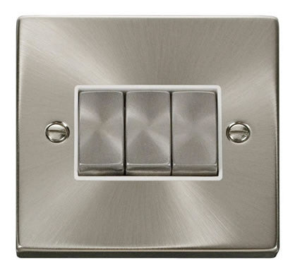 Satin Chrome 10A 3 Gang 2 Way Ingot Light Switch - White Trim