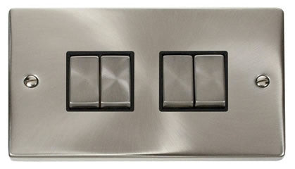 Satin Chrome 10A 4 Gang 2 Way Ingot Light Switch - Black Trim
