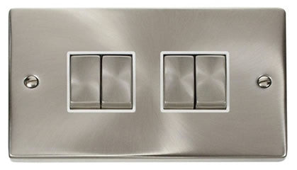 Satin Chrome 10A 4 Gang 2 Way Ingot Light Switch - White Trim
