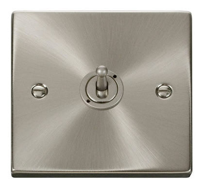 Satin Chrome 1 Gang 2 Way 10AX Toggle Light Switch