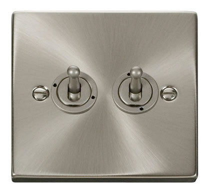 Satin Chrome 2 Gang 2 Way 10AX Toggle Light Switch
