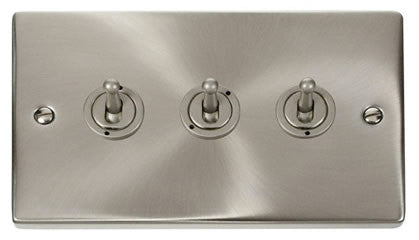 Satin Chrome 3 Gang 2 Way 10AX Toggle Light Switch