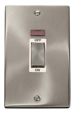 Satin Chrome 2 Gang Ingot Size 45A Switch With Neon - White Trim