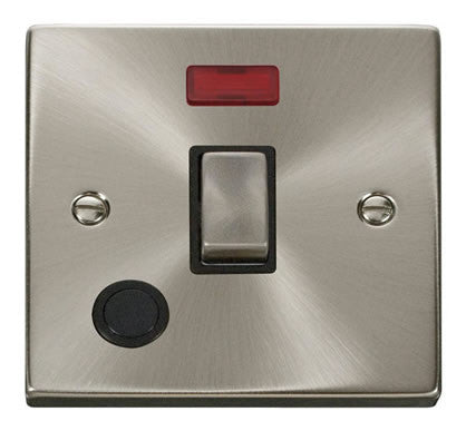 Satin Chrome 1 Gang 20A Ingot DP Switch With Flex With Neon - Black Trim