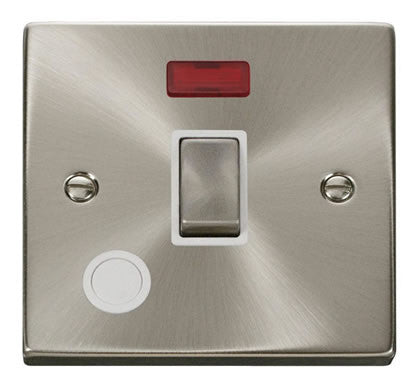 Satin Chrome 1 Gang 20A Ingot DP Switch With Flex With Neon - White Trim