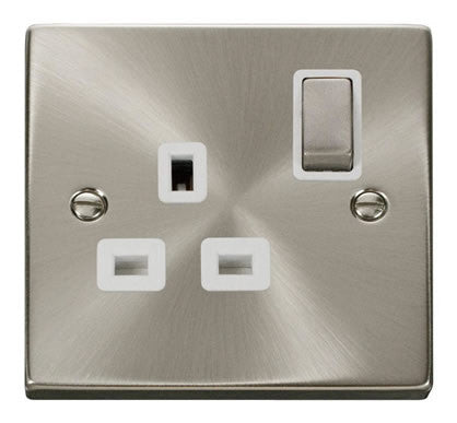 Satin Chrome 1 Gang 13A DP Ingot Switched Plug Socket - White Trim