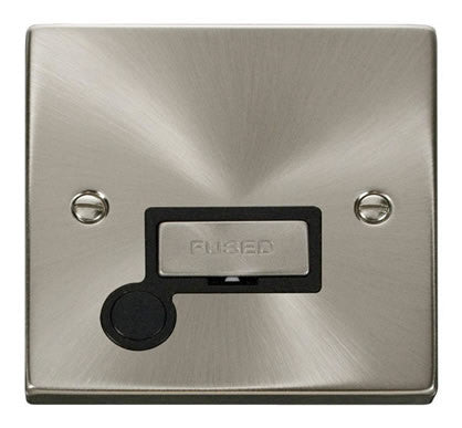 Satin Chrome 13A Fused Ingot Connection Unit With Flex - Black Trim