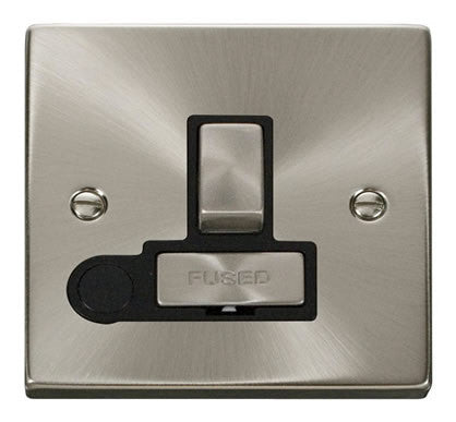 Satin Chrome 13A Fused Ingot Connection Unit Switched With Flex - Black Trim