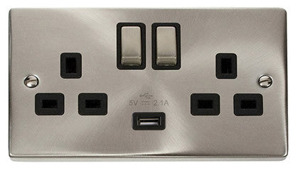 Satin Chrome 2 Gang 13A DP Ingot 1 USB Twin Double Switched Plug Socket - Black Trim