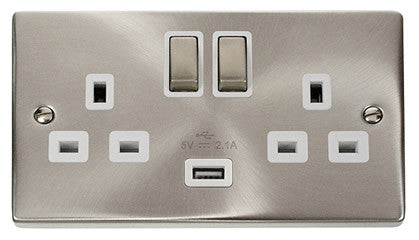 Satin Chrome 2 Gang 13A DP Ingot 1 USB Twin Double Switched Plug Socket - White Trim