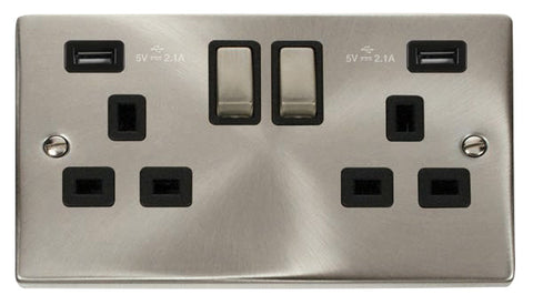 Satin Chrome 2 Gang 13A DP Ingot 2 USB Twin Double Switched Plug Socket - Black Trim