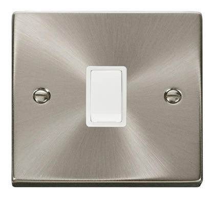 Satin Chrome 1 Gang 20A DP Switch - White Trim