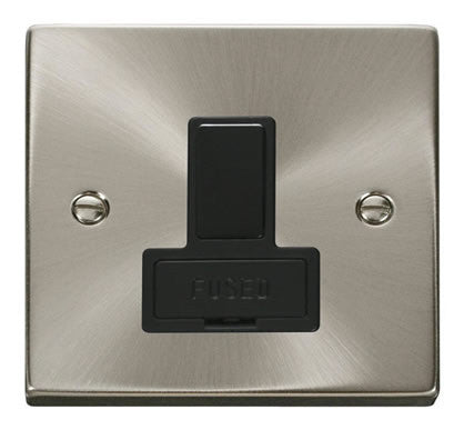 Satin Chrome 13A Fused Connection Unit Switched - Black Trim