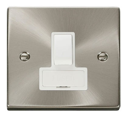 Satin Chrome 13A Fused Connection Unit Switched - White Trim