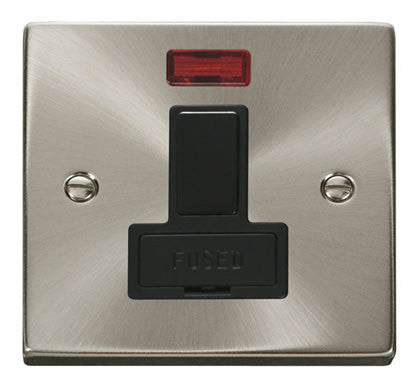 Satin Chrome 13A Fused Connection Unit Switched With Neon - Black Trim