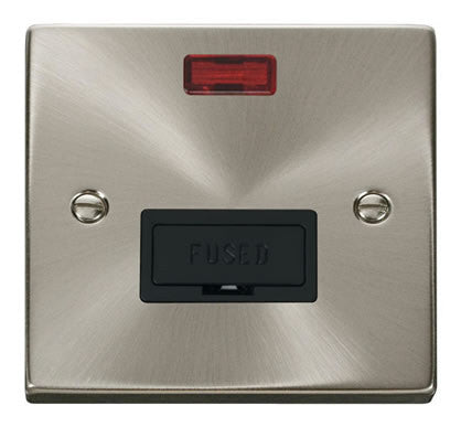 Satin Chrome 13A Fused Connection Unit With Neon - Black Trim