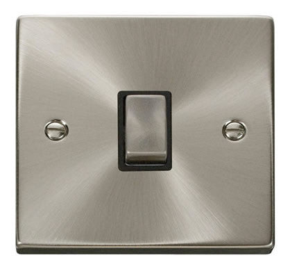 Satin Chrome 1 Gang 20A Ingot DP Switch - Black Trim