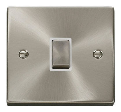 Satin Chrome 1 Gang 20A Ingot DP Switch - White Trim