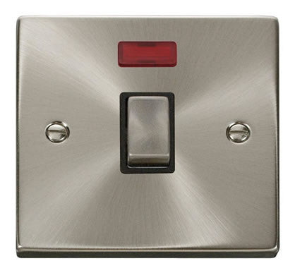 Satin Chrome 1 Gang 20A Ingot DP Switch With Neon - Black Trim
