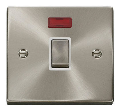 Satin Chrome 1 Gang 20A Ingot DP Switch With Neon - White Trim