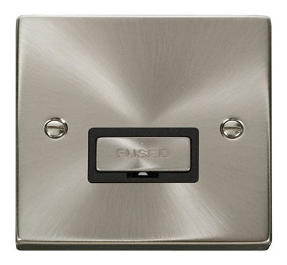 Satin Chrome 13A Fused Ingot Connection Unit - Black Trim