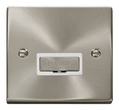 Satin Chrome 13A Fused Ingot Connection Unit - White Trim