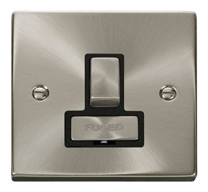 Satin Chrome 13A Fused Ingot Connection Unit Switched - Black Trim