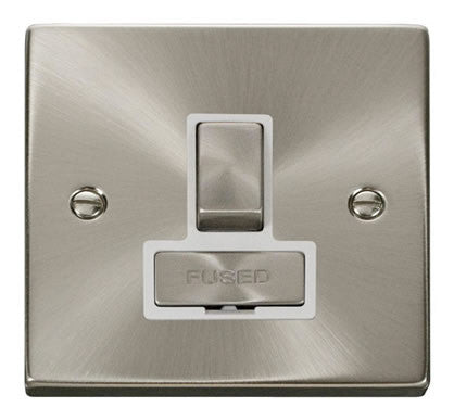 Satin Chrome 13A Fused Ingot Connection Unit Switched - White Trim