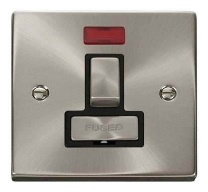 Satin Chrome 13A Fused Ingot Connection Unit Switched With Neon - Black Trim