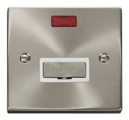 Satin Chrome 13A Fused Ingot Connection Unit With Neon - White Trim