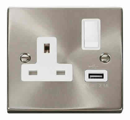 Satin Chrome 1 Gang 13A DP 1 USB Switched Plug Socket - White Trim
